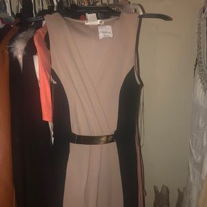 Tan/nude and black color dress body con dress